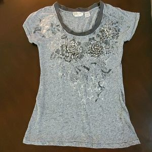 Miss Me Silver Tee with unique beading